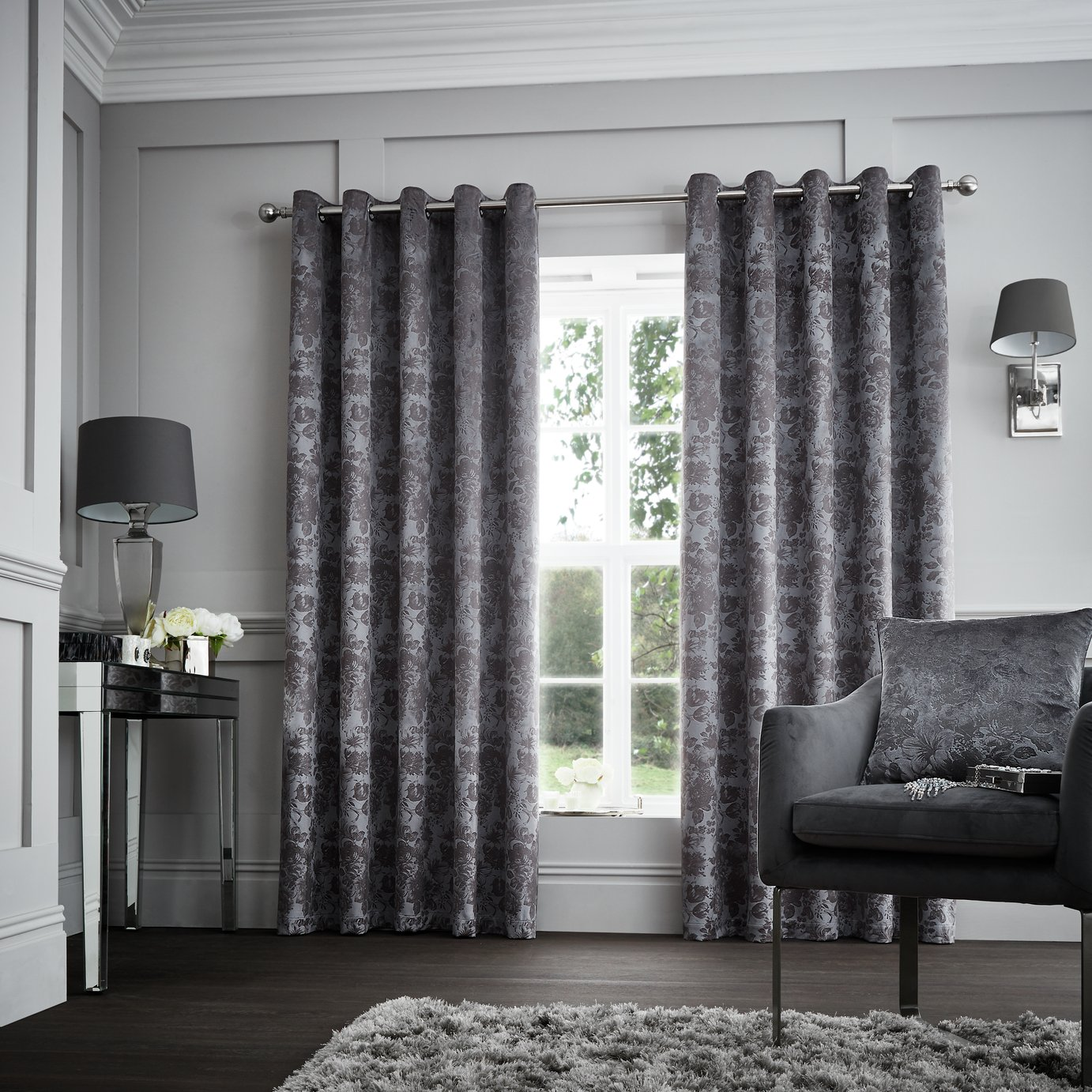 living room curtains argos decorating ideas sectional sofa buy curtina downton lined 168x137cm graphite