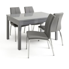 Set Of Chairs Brown Leather Lounge Chair Dining Sets Kitchen Tables Argos Home Lyssa Extendable Grey Table And 4