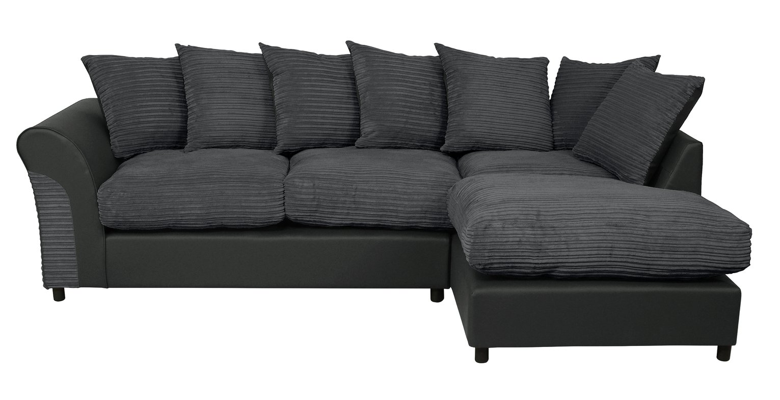 large square corner sofa chaise bobs sofas argos home harry right fabric charcoal