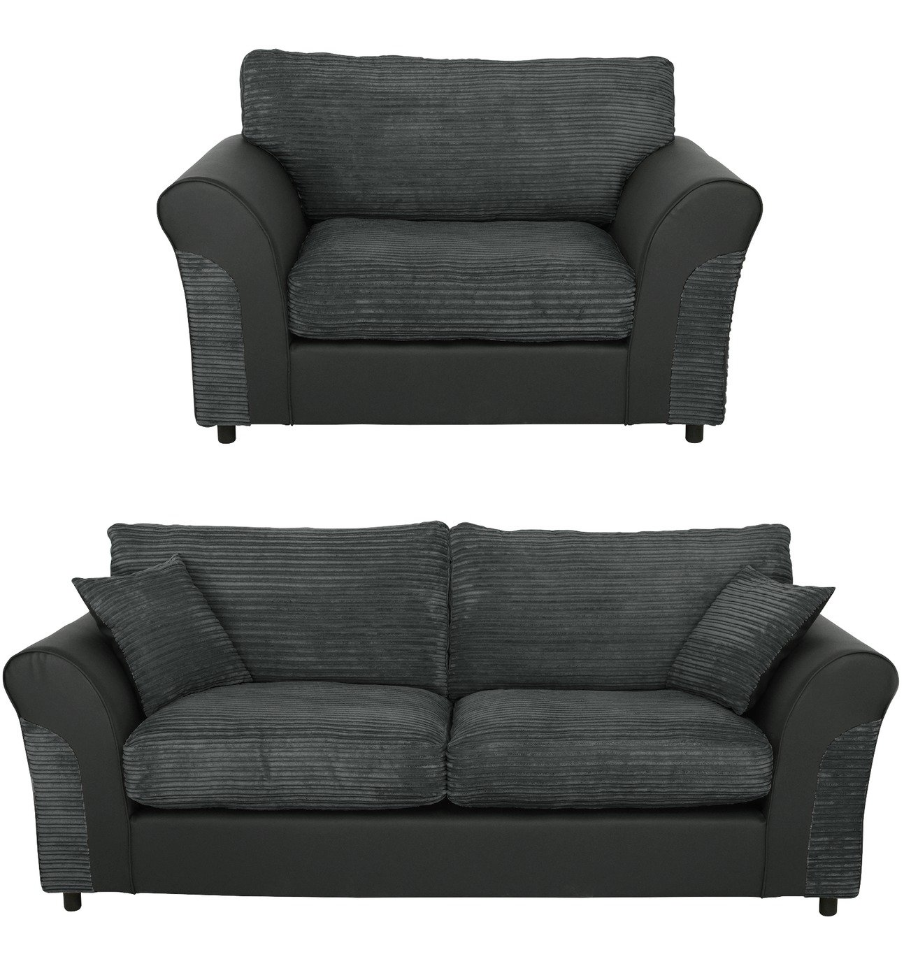 black 3 seater sofa and cuddle chair pottery barn pearce sale sets suites packages argos home harry fabric charcoal