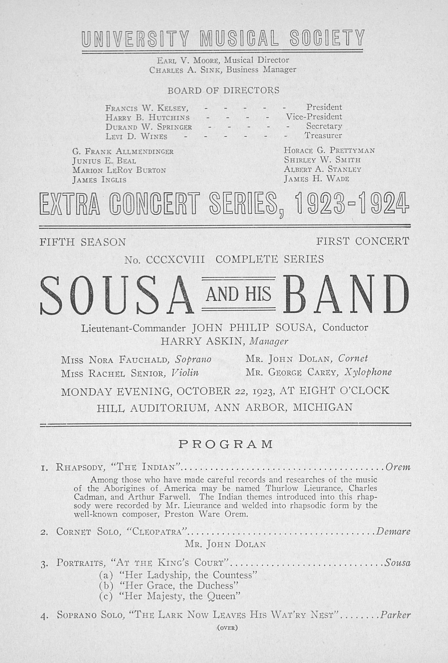 UMS Concert Program, October 22, 1923: Extra Concert