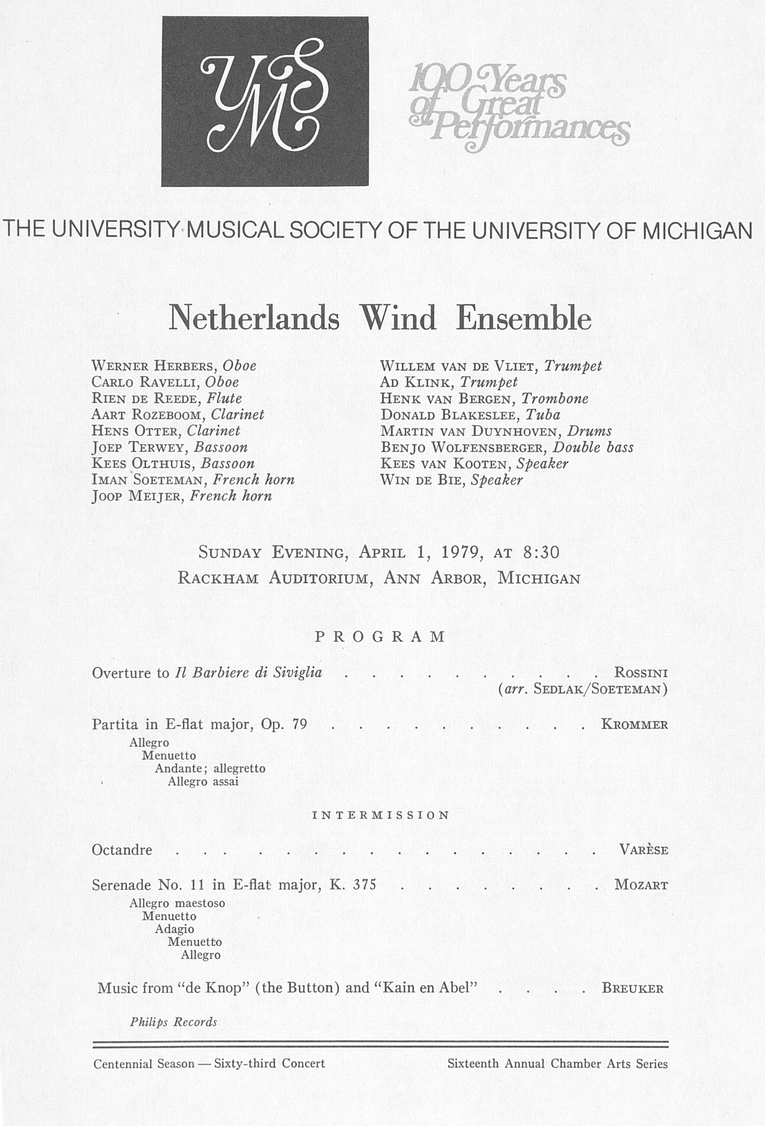 UMS Concert Program, April 1, 1979: Netherlands Wind