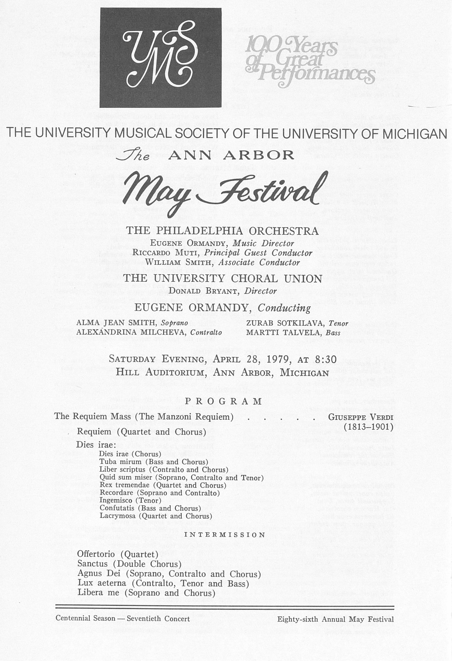 UMS Concert Program, April 28, 1979: The Ann Arbor May