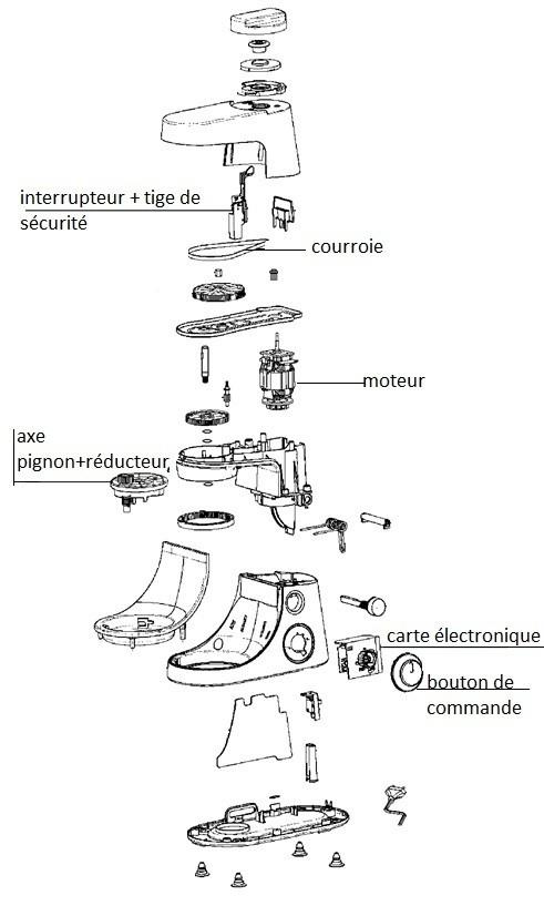 Pièces robot Masterchef Gourmet QA403G01 Moulinex moteur