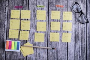 Kanbantavla från utbildning i agila metoder