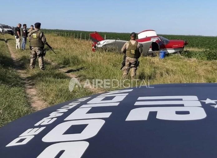 La aeronave que disparó la investigación contra Melgarejo y Casco fue encontrada en un campo del departamento San Justo.