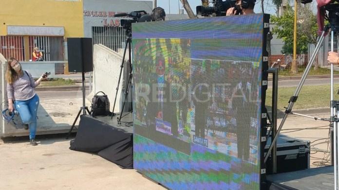 Imagen de la pantalla de lavideoconferencia con el presidente Alberto Fernández en la que se hicieron los anuncios para Santa Fe.