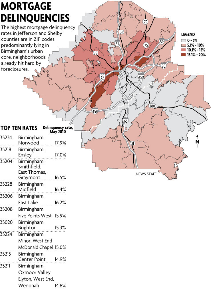 Birmingham Al Zip Code Map : birmingham, Affluent, Areas, Seeing, Mortgage, Delinquency, Rates, (with, Clickable, Al.com