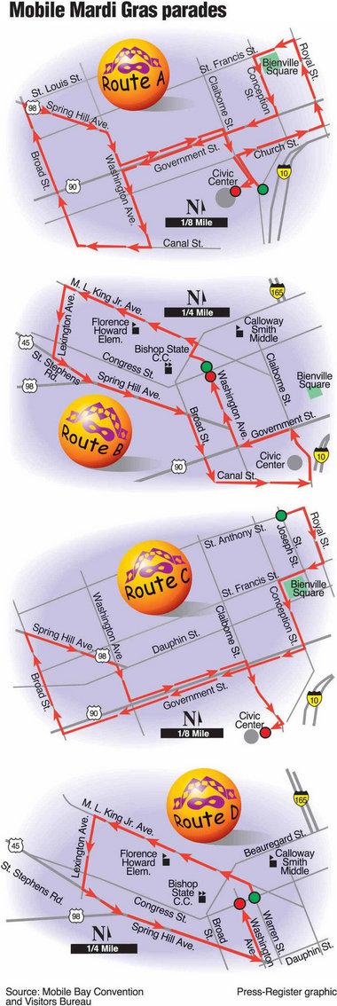 Mardi Gras Parade Routes : mardi, parade, routes, Mobile, Mardi, Schedule, Al.com