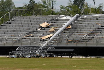 A downed light stanchion at Albertville High School football stadium.