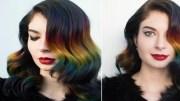 rainbow ombr hair color technique