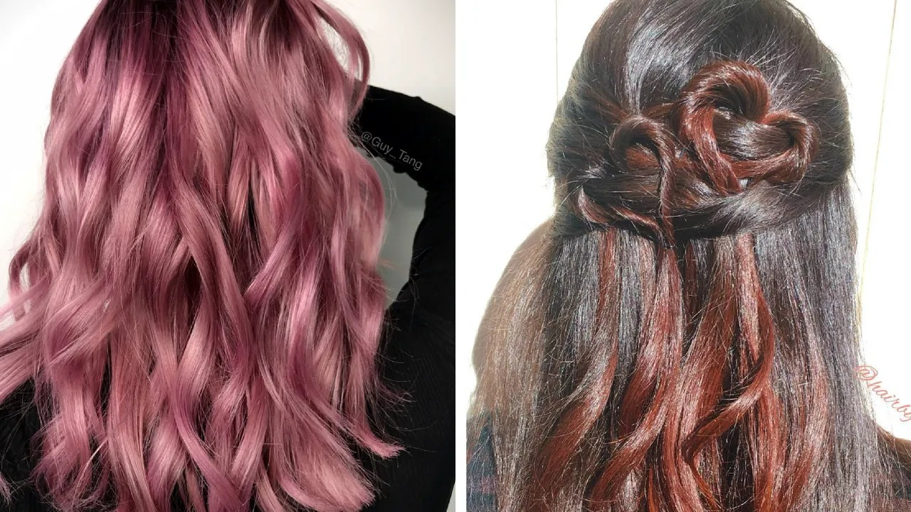 sunset pink and rose-gold hair