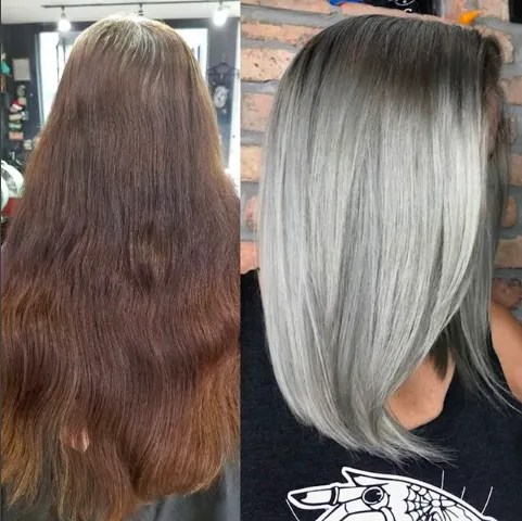 Colorist Transforms Client S Graying Roots Into Fully Silver Hair