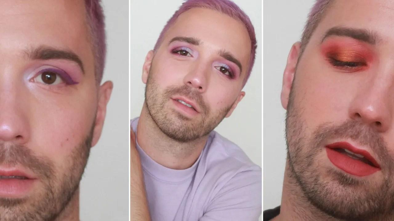 hight resolution of a beautiful man wearing eye makeup