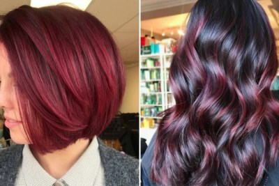 Cranberry-colored hairstyles, long and short.
