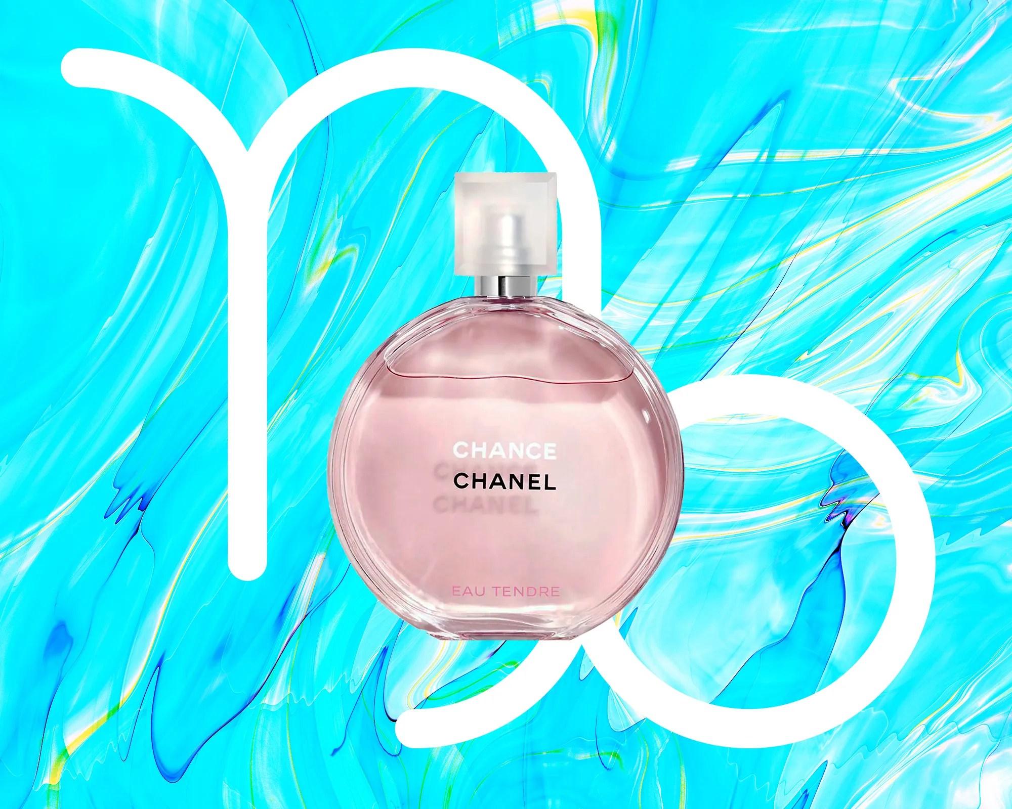 Chanel Likelihood Eau Tendre on a colourful designed background