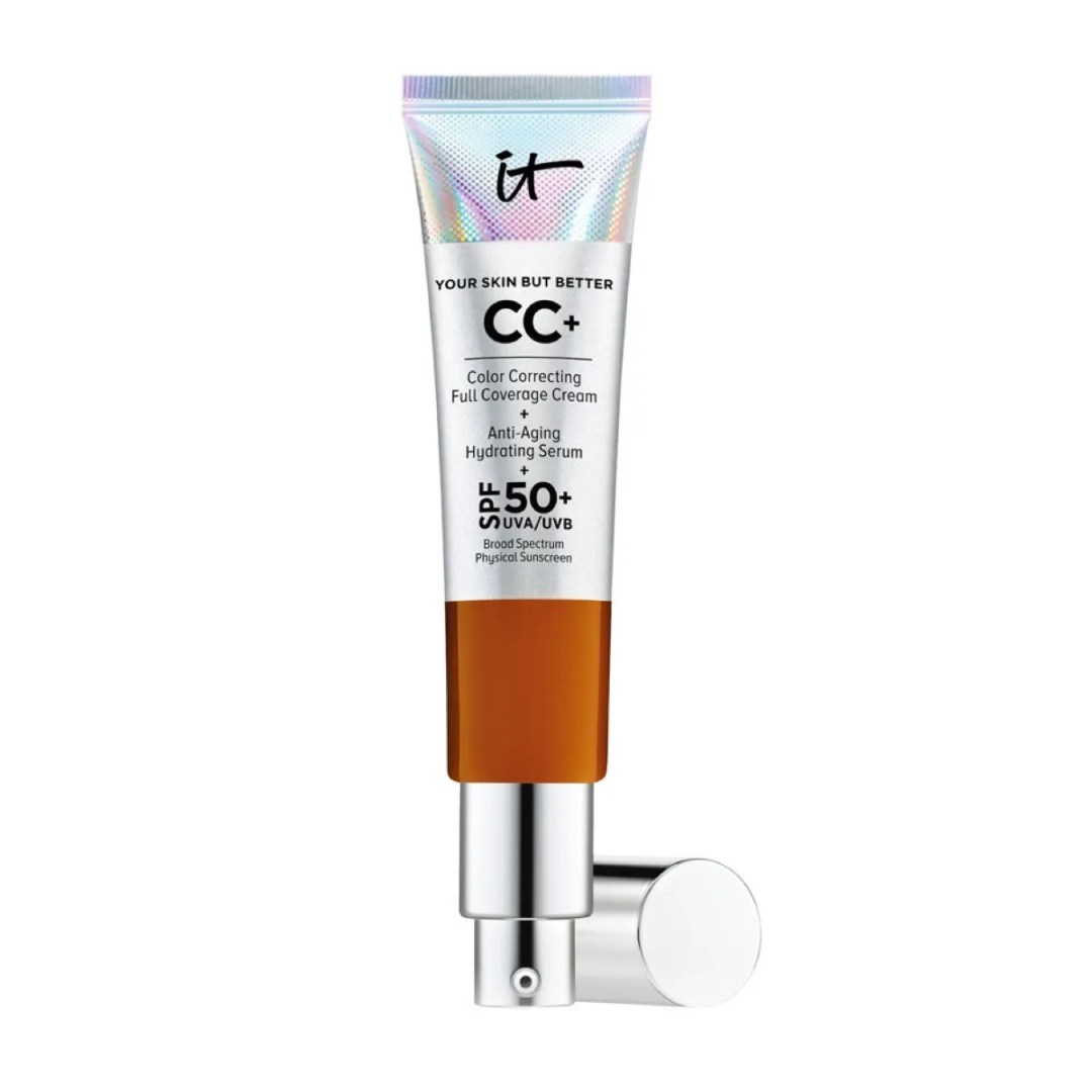 A silver tube of cc cream on a white background