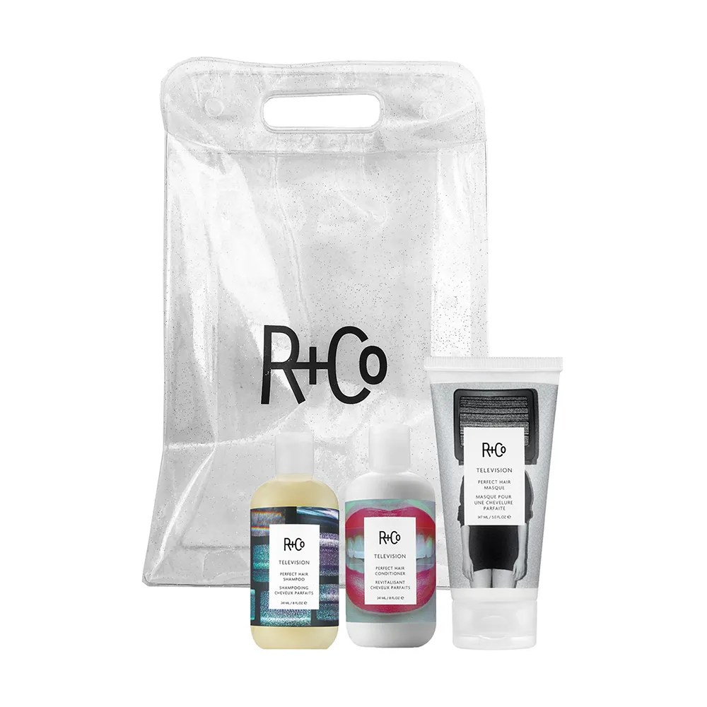 R+Co Television Perfect Hair Care Set on white background