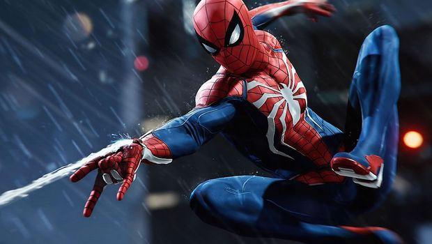 Spider-Man shooting his web while swinging in the rainMortal Kombat Devs marvel fighting game studio