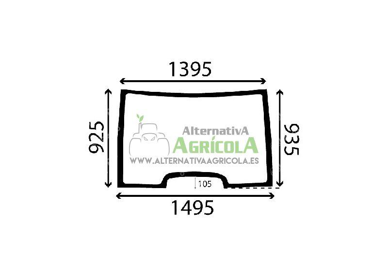 Cristal Parabrisas Delantero Fijo para Tractores Renault