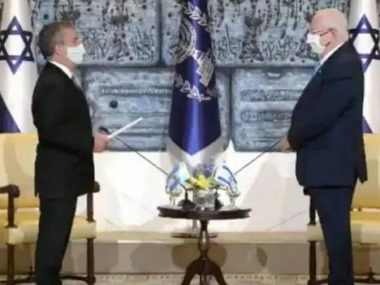 Urribarri entregó sus cartas credenciales al presidente de Israel