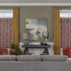 Window Treatment Ideas Modern Living Room Navy Blue And Brown Americanblinds Com Formal With Gray Upholstered Sofa Facing A Beige Wall An Abstract Painting Flanked