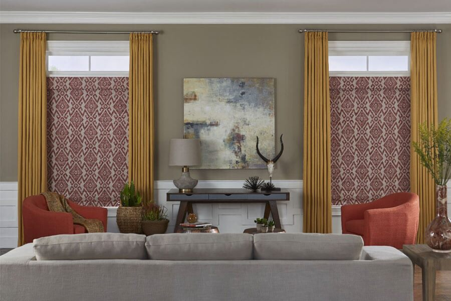 window treatments for formal living room four chairs treatment ideas americanblinds com with gray upholstered sofa facing a beige wall an abstract painting flanked