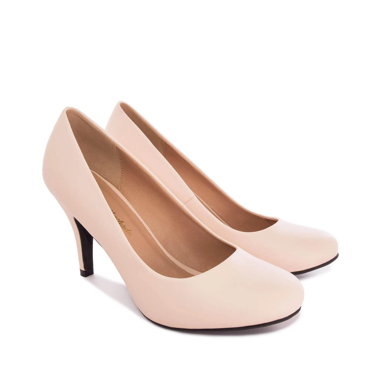 Zapatos de Saln Retro en Soft Beige y tacn Fino de 9 cm