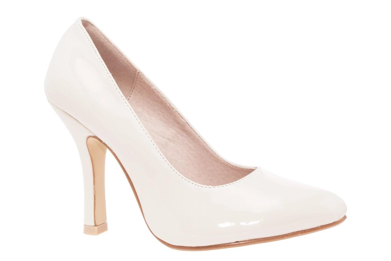 Zapatos Salon en Charol Beige y punta Fina