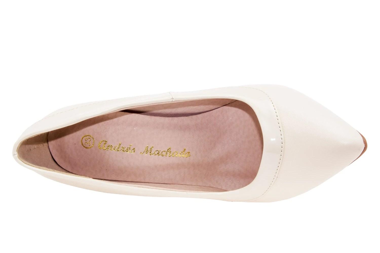 Zapatos Salon combinado Soft Beige y Charol