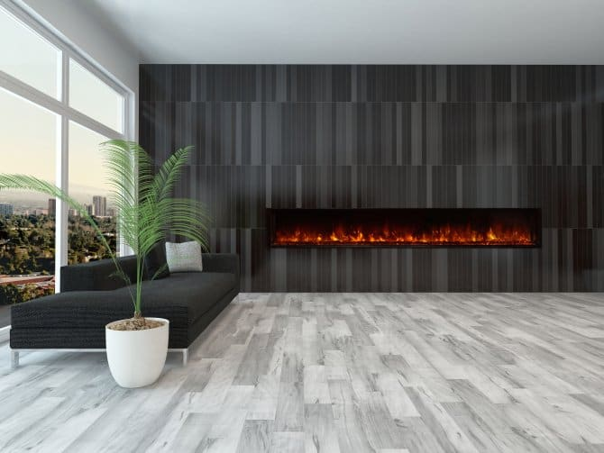 contemporary living room with electric fireplace bench seats for mounted in modern angie s list long black tile wall gray floor