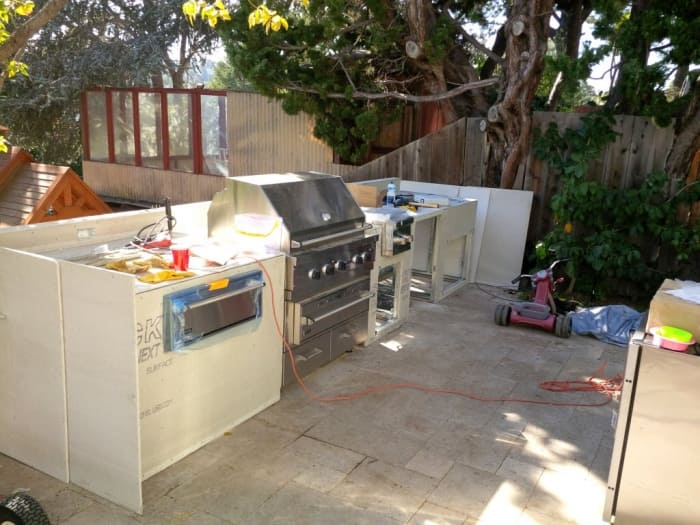 outdoor kitchen frames l shaped island diy is this a project for you angie s list framed with galvanized steel covered by cement board