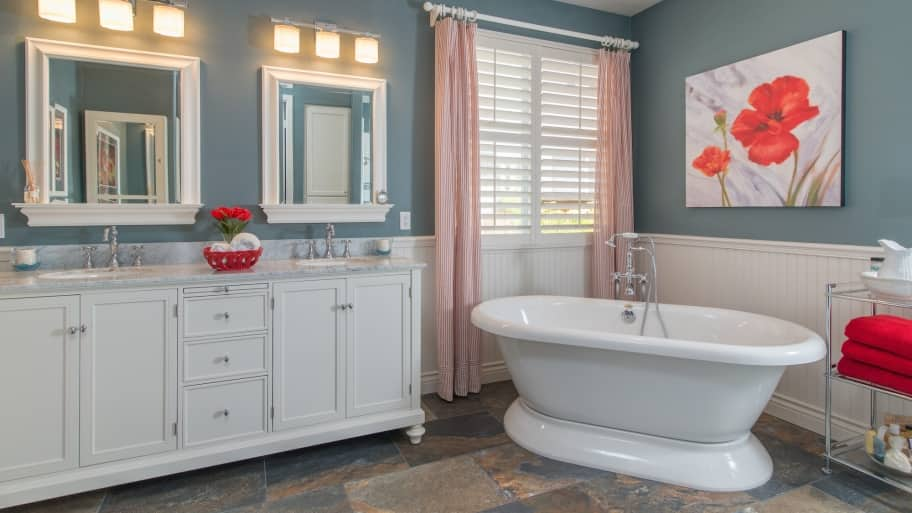 white wainscoting bathroom vanity How High Should You Wainscot a Bathroom Wall? | Angie's List