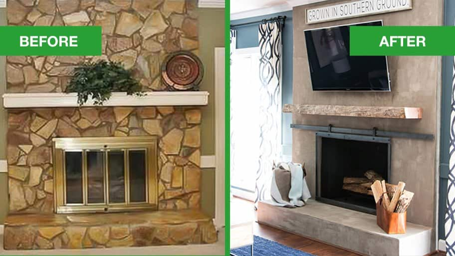 Concrete Industrial Fireplace Remodel Meets Cozy Chic  Angies List