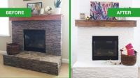 White Painted Stone & Shiplap Fireplace Makeover | Angie's ...