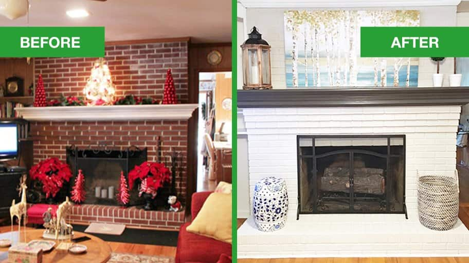 Dated Brick Fireplace gets Painted White  Angies List