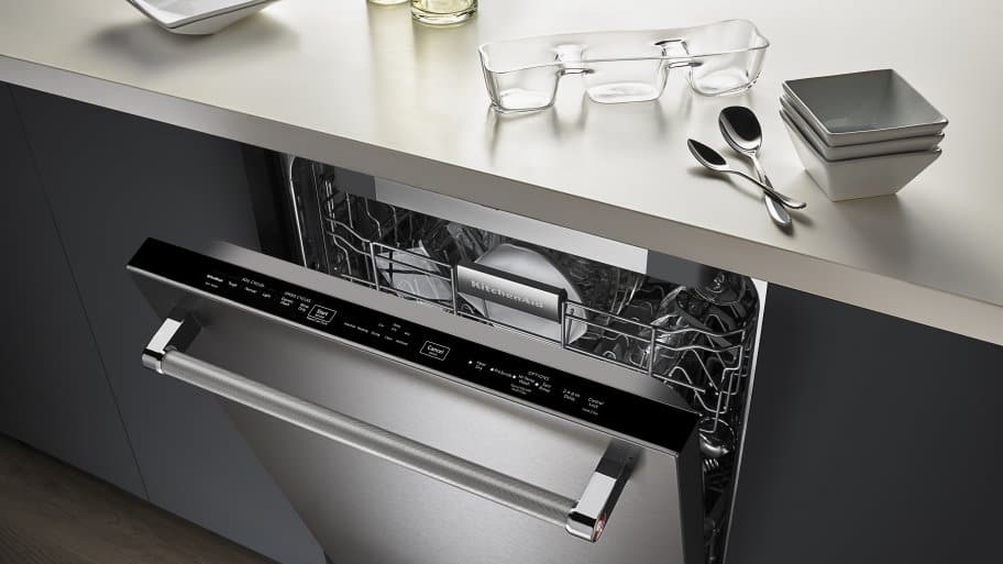 kitchen aide dishwasher mobile home kitchens review kitchenaid 24 inch built in kdte104ess slightly open to show top controls