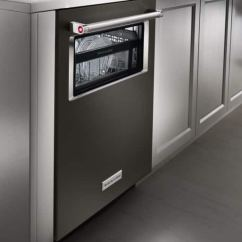 Kitchen Aide Dishwasher Renovating Review Kitchenaid 24 Inch Built In With Angled Shot Of Kdtm804ebs Island