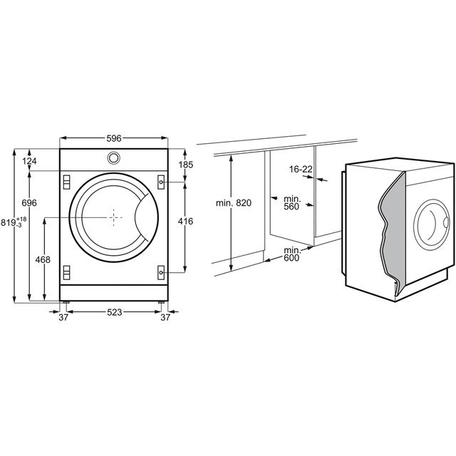 AEG OkoMix Technology L8FC8432BI Built In Washing Machine