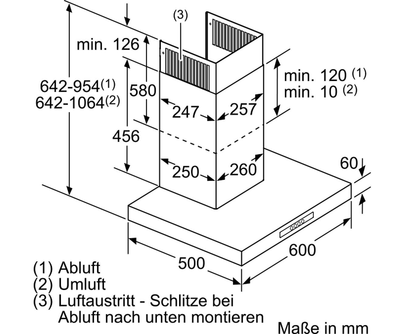 Dunstabzugshaube Abluft Montage Bosch Serie 2 Dwb96bc50 Wandhaube