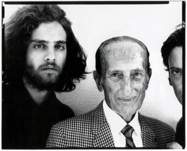 Avedon's 8 x 10 portrait of his son, his father, and himself during a visit to Jacob Avedon's home in Sarasota, Florida, August 9, 1969