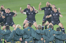 The All Blacks performing Kapa o Pango. Photo / Mark Mitchell.