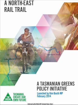 The cover of the Tasmanian Greens' rail trail policy.