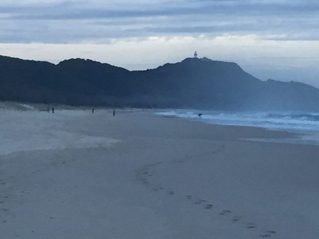 The scene at Tallow Beach, Byron Bay, this afternoon.