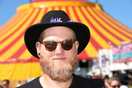 Jessie O'Malley of Perth at Splendour in the Grass with glitter in his beard.  Photo Marc Stapelberg / The Northern Star