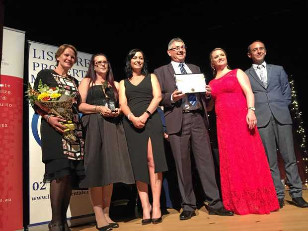 Winners of The Lismore Property Managers Business Excellence Awards, Summerland Credit Union. Graeme Herne, Kelly Burns, Christina Emilio and Vicki Hunter with Rachel and Rodney Jenkins of Lismore Property Managers. Sophie Moeller