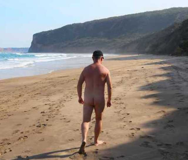 An Unidentified Nudist Pictured At A Clothes Optional Beach At Point Addis In