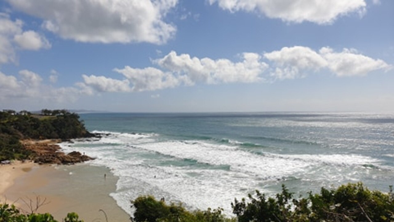 Rough conditions at unpatrolled beach First Bay, Coolum where a woman drowned while swimming with her daughter on Monday morning.