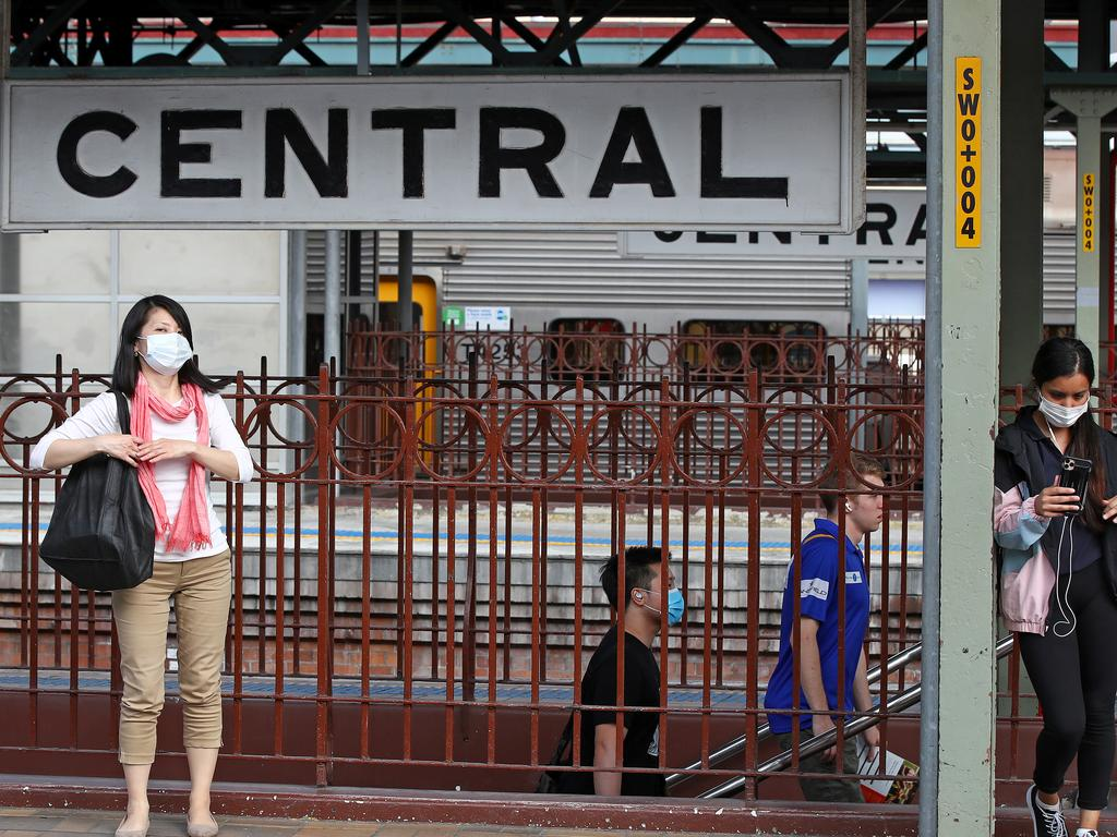 Social distancing, reducing public transport use and wearing a mask help reduce infection spread. Picture: Toby Zerna