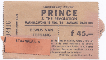Prince & The Revolution 08/18/1986 concert ticket (apoplife.nl)